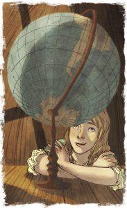 Illustrazione di Ombretta Tavano da Il terribile testamento di Jeremy Hopperton di Davide Morosinotto, Libri Corsari Solferino