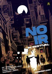 Poster della 29a edizione del Noir in Festival illustrato da Lorenzo De Felici