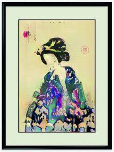 Electric Dreams of Ukyo, Obvious 2019. Serie di 22 opere, 11 ritratti e 11 paesaggi, generate da gan allenate con due differenti set di dati di stampe Ukyo-e. Stampa inkjet su carta tradizionale giapponese Washi, formato grande (oban), 56 × 83, p. 184