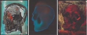 Infinite Skulls, Robbie Barrat/Ronan Barrot 2019, olio su tela, stampa uv su plexiglass.